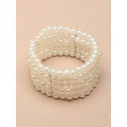 Corsage - 5 Row stretch Pearl bead corsage cuff bracelet