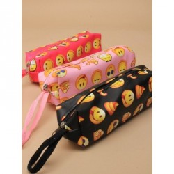 Pencil Case - Size : L18xW6xH5cm Brightly coloured Emoji print pencil case with Zip In Pink,fuchsia or black