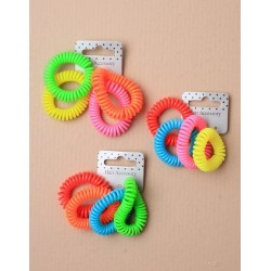Tele-Cord Elastics - card of 4 neon telephone cord scrunchies. hair elastics in a choice of 3 colourways