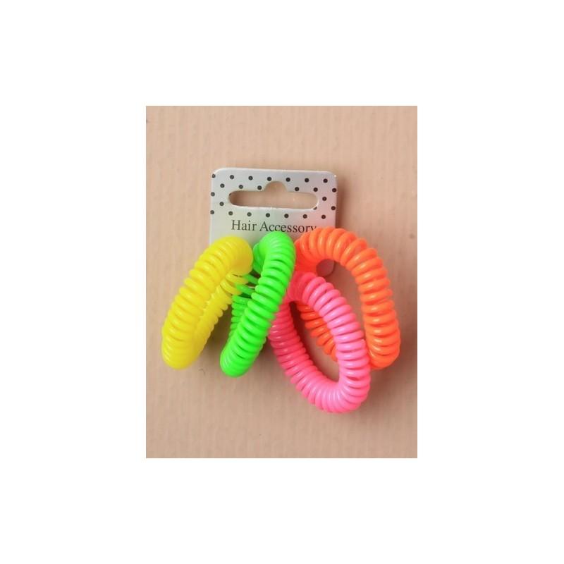 Tele-Cord Elastics - card of 4 neon telephone cord scrunchies. hair elastics in a choice of 3 colourways
