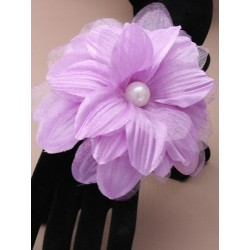 large fabric flower on a pearl bead cuff bracelet. in 6 colours.
