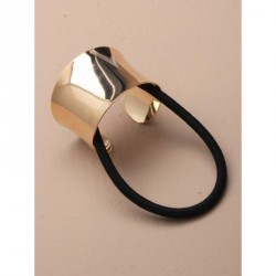 Ponytail Holder - Curved gilt metal ponytail ring on...