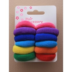 Hair Bobbles Thick Elastics - card of 12 bright hair bobble elastics