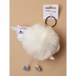 Keyring - Unicorn fake fur pompom keyring with Silv...