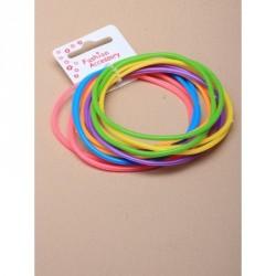 Bangles - Card of 12 bright coloured gummy bangles