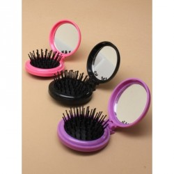 Hairbrush - Compact Mirrors - Folding round compact hair brush with mirror In black,purple and pink Size approx: 65cm