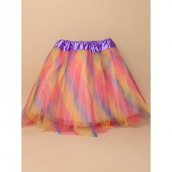 Tutu - Rainbow coloured net child size triple layered Tutu skirt Waistband 18-32in Pink underlayers with rainbow top layerThis