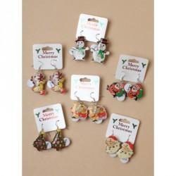 Earrings - Christmas - Clip strip of 12 pairs of christmas flashing earrings