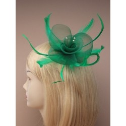 Fascinator Clip & Pin - Net and feather crystal centre fascinator clip and pin
