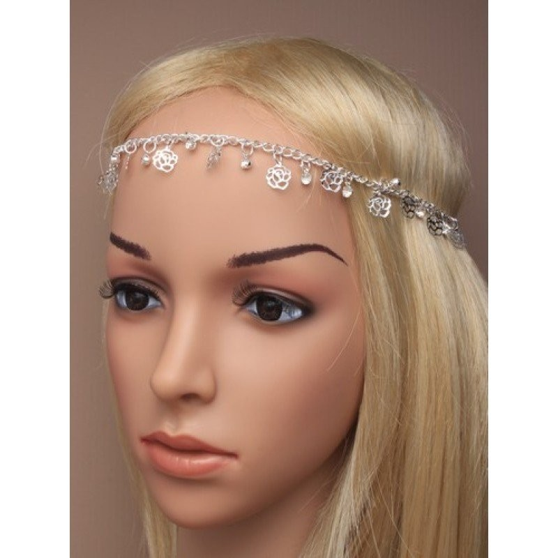 FILIGREE ROSE AND CRYSTAL DROPPER CHAIN BROWBAND SILVER GILT