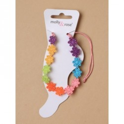 Anklet - Bright coloured embroidered daisy chain on a...