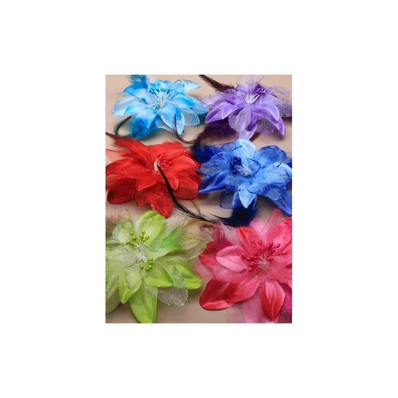 Fascinator Clip & Pin - Bright coloured flower and feather fascinator clip