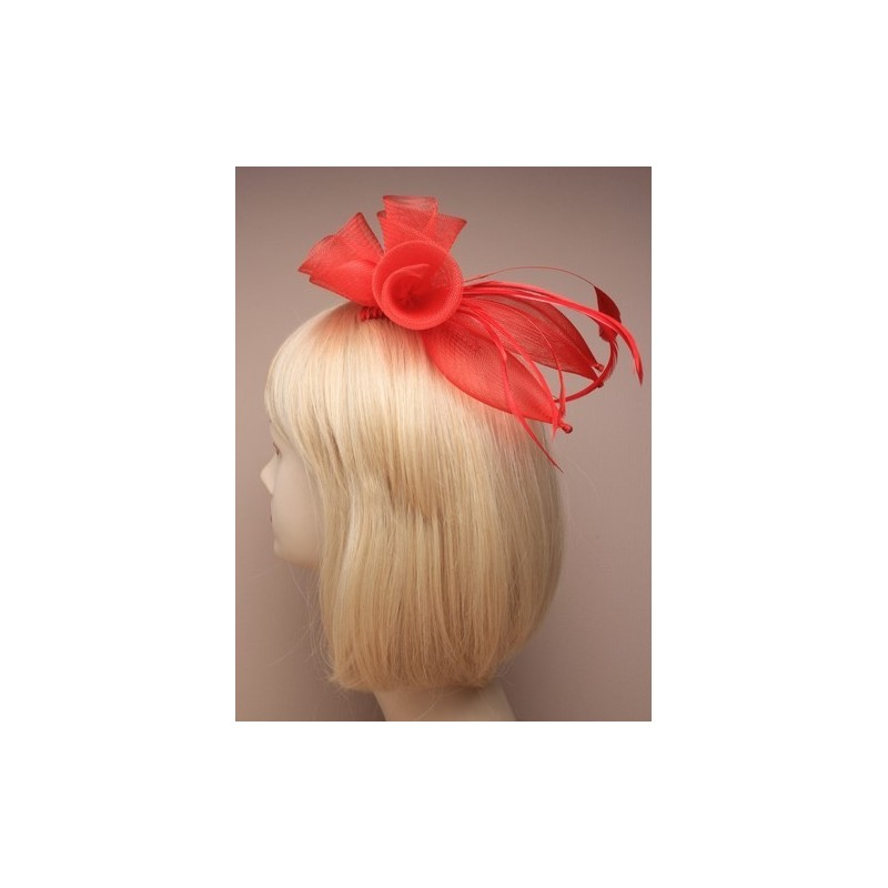 Fascinator Comb - Red coiled mesh flower and feather fascinator comb