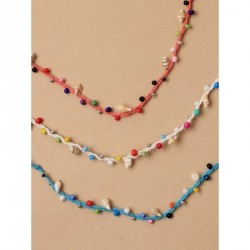 Tele-cord Hair Elastics - Adjustable coloured cord anklet with shells and coloured beadsIn white, orange and blue