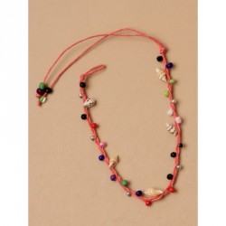 Anklet - Adjustable coloured cord anklet with shells and...