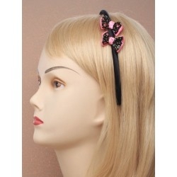 Aliceband - Double spotty side twin bows on satin fabric...