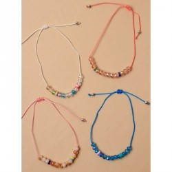 Tele-cord Hair Elastics - Adjustable coloured cord anklet with facetted coloured beads In pink,coral,white and blue