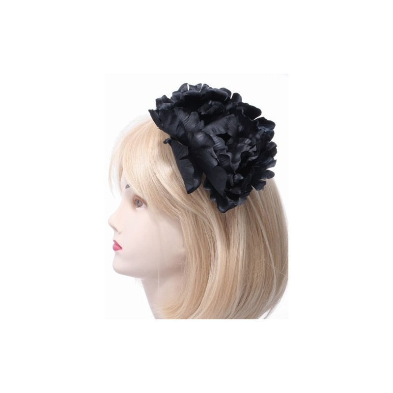 Fascinator Clip & Pin - large black fabric flower on a silv beak clip with brooch pin.