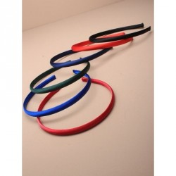 Headband - 1cm wide School coloured satin aliceband In red,burgundy,green,royal,navy and black