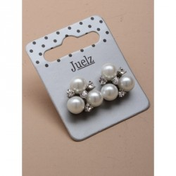 Earrings - Pair of triple pearl bead and crystal stud earrings