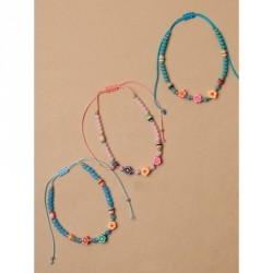 Tele-cord Hair Elastics - Adjustable cord anklet with coloured beads and flower beadsIn turq,pink and blue