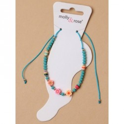 Anklet - Adjustable cord anklet with coloured beads and...