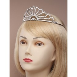 Tiara - Vintage plated flaired crystal tiara in a cream...