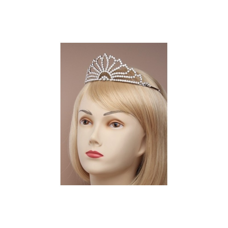 Tiara - Vintage plated flaired crystal tiara in a cream giftbox