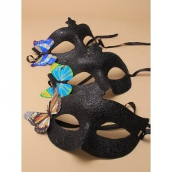 Black glitter masquerade mask with side butterfly motif in assorted colours