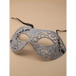 Masquerade Mask - Silver glitter filligree masquerade mask with black ribbon ties