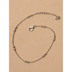 Tele-cord Hair Elastics - Fine silv anklet chain with silv bead stationsLength : 9in + 2in extension chain