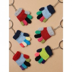 Keyring - Small multicoloured knitted glove keyring , charm In 6 assorted colours