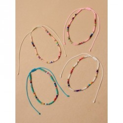 Tele-cord Hair Elastics - Adjustable cord anklet with multi coloured seed beadsIn white,salmon pink, pink and aqua