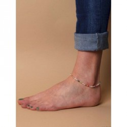 Anklet - Adjustable cord anklet with multi coloured seed...