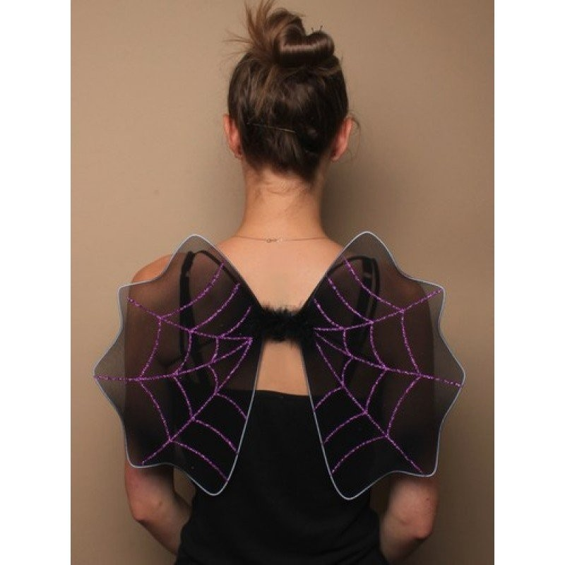 Size : 47x35cm Black Halloween bat wings with glitter spiders web detail In Orange, green, purple and silverThis item Complies