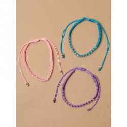 Tele-cord Hair Elastics - Adjustable coloured braided cord anklet with transparent beadsIn lilac,turq and pink