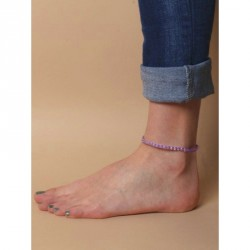 Anklet - Adjustable coloured braided cord anklet with...