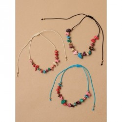 Tele-cord Hair Elastics - Adjustable cord anklet with multi coloured natural stone chipsIn white,black and turq