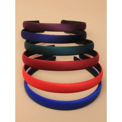 Headband - 15cm Wide School colour mix graduated low sheen satin fabric aliceband with braided inner In Bottle green,purple,nav
