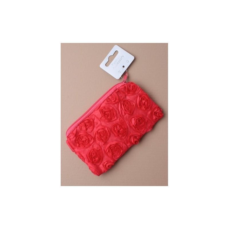 Purse - Rectangular fabric zip purse with ribbon rosette detail