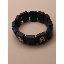 Wristband - skull and crossbones black wooden tablet...