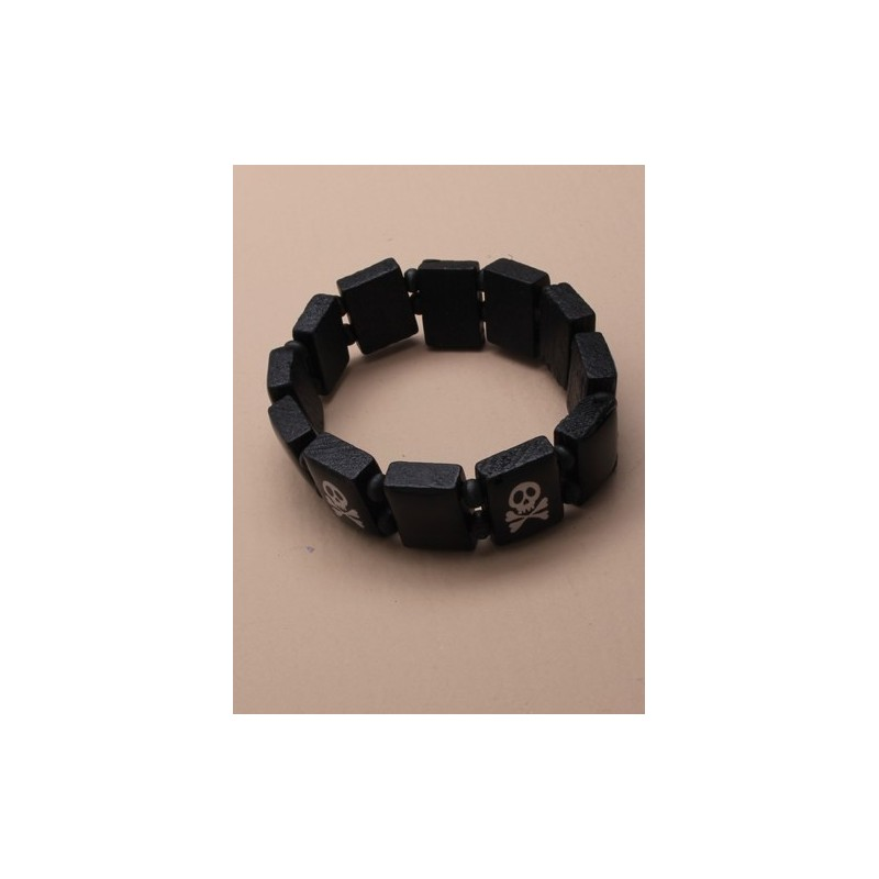 Wristband - skull and crossbones black wooden tablet wristband