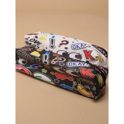 Pencil Case - Size : L18xW5xH5cm Pop art sticker effect printed pencil case with Zip In Black and white