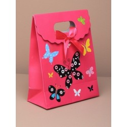 Gift Box - Medium pink butterfly fold flat gift box with...