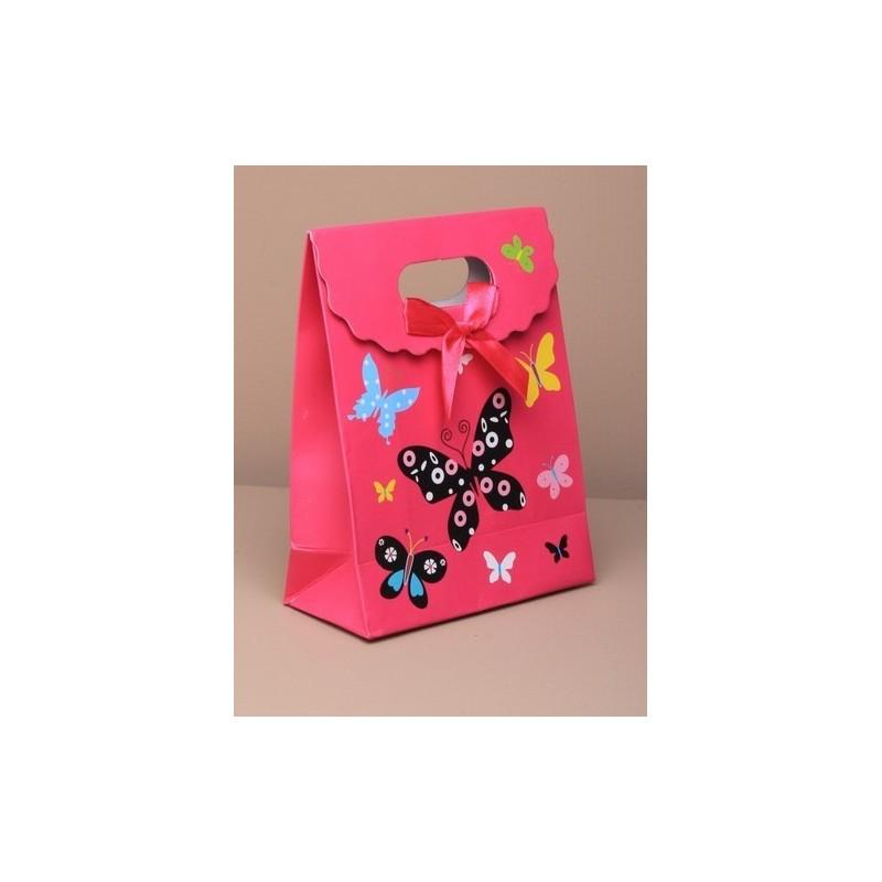 gave boks - medium pink sommerfugl foldes fladt gave boks med velcro fastner. størrelse ca. 16x12x6cm