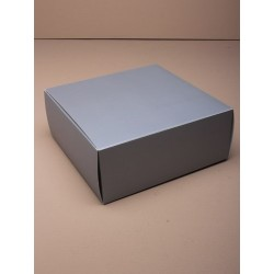 Gift Box - Flat packed square gift box in matt silver. 16x16x6.5cm.