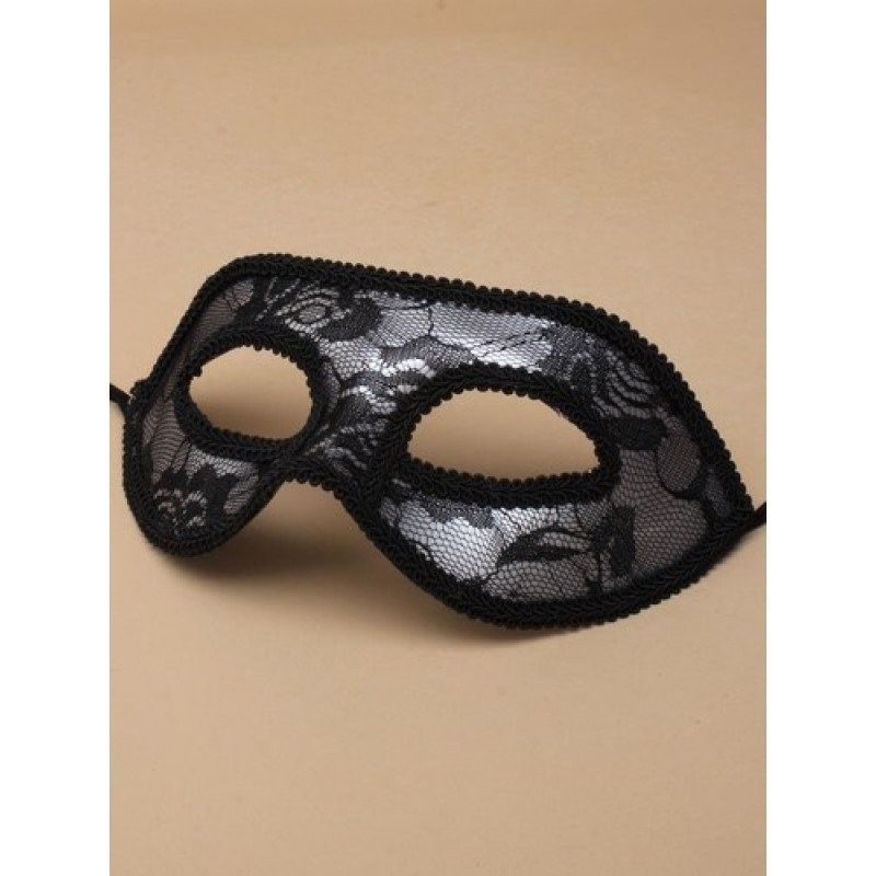 Black lace and silver background masquerade mask with black ribbon ties