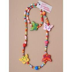 목걸이 & 팔찌 세트-씨앗 색깔의 구슬과 나무 나비 구슬 necklet 팔찌 세트. 3 나비 디자인.