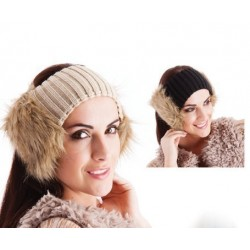Fluffy head band - Faux fur earmuff headband in black or cream