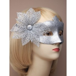 Masquerade mask - Silver glitter with side flower masquerade mask
